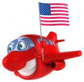 Забавный самолет с флагом — Стоковое фото