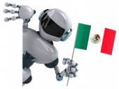 Fun cartoon robot with flag — Stock Photo
