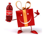 Fun cartoon gift with soda bottle — Stock Photo