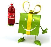Fun cartoon gift with soda bottle — Stock Photo