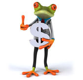 Fin doctor frog with dollar sign — Stock Photo