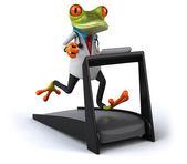 Fun doctor frog on treadmill — Stock Photo
