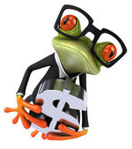 Fun business frog and dollar sign — Stock Photo