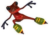 Fun frog on rollers — Stock Photo
