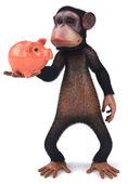 Monkey with piggy bank — Stock Photo