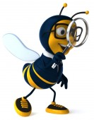 Fun bee with magnifying glass — Stock Photo