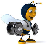 Fun doctor bee with weights — Stock Photo