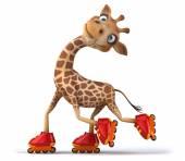Fun giraffe on a on roller skates — Stock Photo
