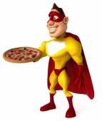 Superhero with pizza — Stock Photo