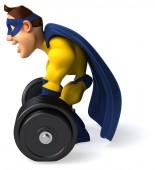 Fun superhero with weights — Fotografia Stock