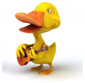 Fun duck with guitar — Stock Photo