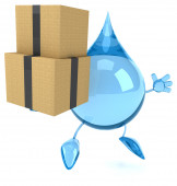 Water  drop with boxes — Stockfoto