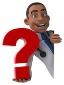 Fun doctor with question mark — Photo