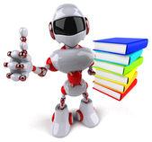 Robot avec pile de livres — Photo