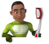Divertido superhéroe con cepillo de dientes — Foto de Stock