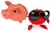 Fun tomato  with  piggy bank — Stock Photo