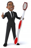 Fun businessman with toothbrush — Stock Photo
