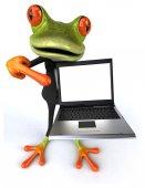 Весело лягушка с ноутбуком — Стоковое фото