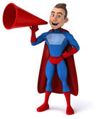 забавный супергерой молодого человека — Стоковое фото