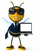 Fun bee with laptop computer — Stock Photo