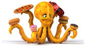Fun cartoon octopus — Stock Photo