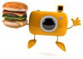 Fun camera with burger — Stock Photo