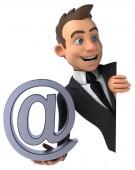 E-posta simgesi olan eğlenceli iş adamı — Stok fotoğraf