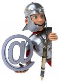 Roman soldier with email symbol — Stock Photo
