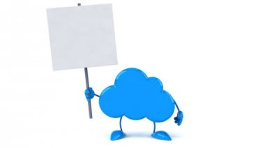 Fun cloud and blank board — Stock Video