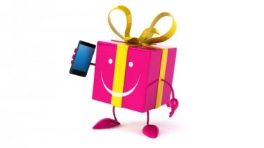 Zabawa prezent z telefonu — Wideo stockowe