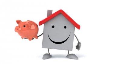 Cartoon house with piggy bank — Stock Video