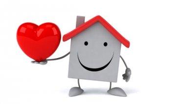 Cartoon house with heart — Stock Video