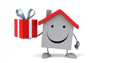 Cartoon house with gift — Stock Video