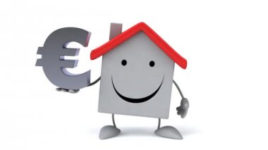 Cartoon house with euro sign — Stock Video