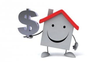 Cartoon house with dollar sign — Stock Video