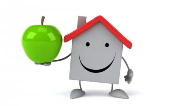 Cartoon house with apple — Stock Video