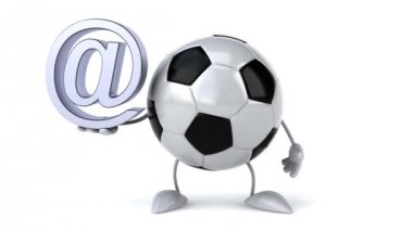 Football ball with email symbol — Stock Video