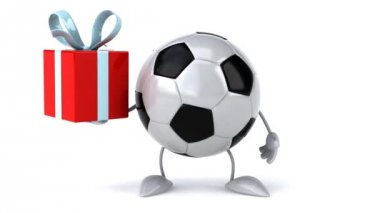 Football ball with gift — Stock Video