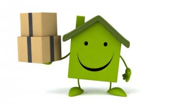 Green Cartoon house with boxes — Stock Video