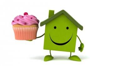 Green Cartoon house with cupcake — Stock Video
