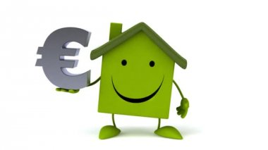 Green Cartoon house with euro sign — Stock Video