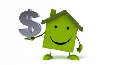 Green Cartoon house with dollar sign — Stock Video