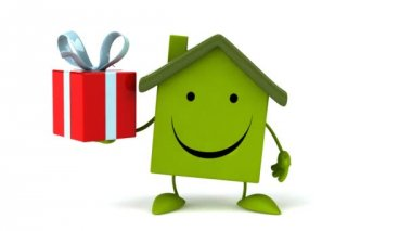 Green Cartoon house with gift — Stock Video