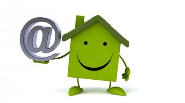 Green Cartoon house with email sign — Stock Video