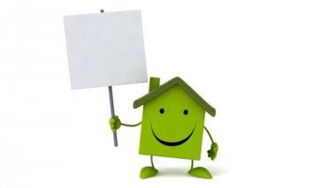 Green Fun cartoon house — Stock Video