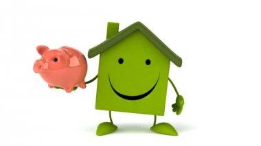 Green Cartoon house with piggy bank — Stock Video