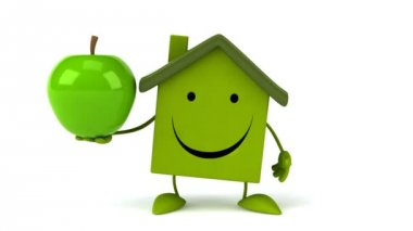 Green Cartoon house with apple — Stock Video