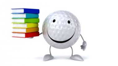 Happy Golf ball with books — Stock Video