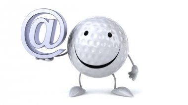 Happy Golf ball with email sign — Vidéo