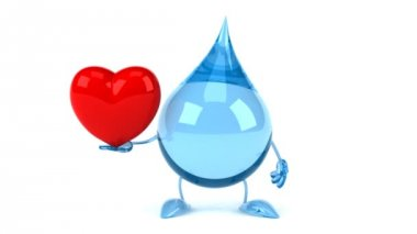 Cartoon water drop with red heart — Stock Video